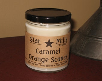 Caramel Orange Scones  - 9 oz. candle, scented soy candle,  handpoured, hostess gift, housewarming, home decor - Star Mills Soy Candles