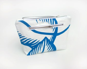fce0049b7c2c6e Cosmetic bag, Makeup bag, Blue toiletry bag, Bridesmaid makeup bag, Trousse  maquillage, Travel bag, Large make up bag, White makeup pouch
