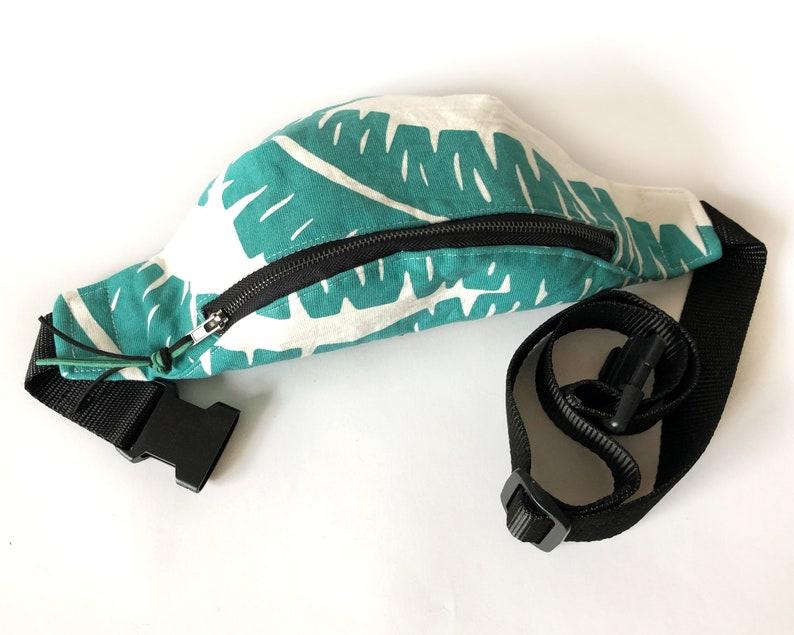 Sac banane Cotton hip bag for men Leaves print bum bag Green fanny pack for woman