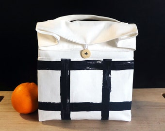 Adult lunch bag for men, Zero waste lunch, White lunch bag for women, Washable and reusable lunch bag, Black and white food bag, Sac a lunch