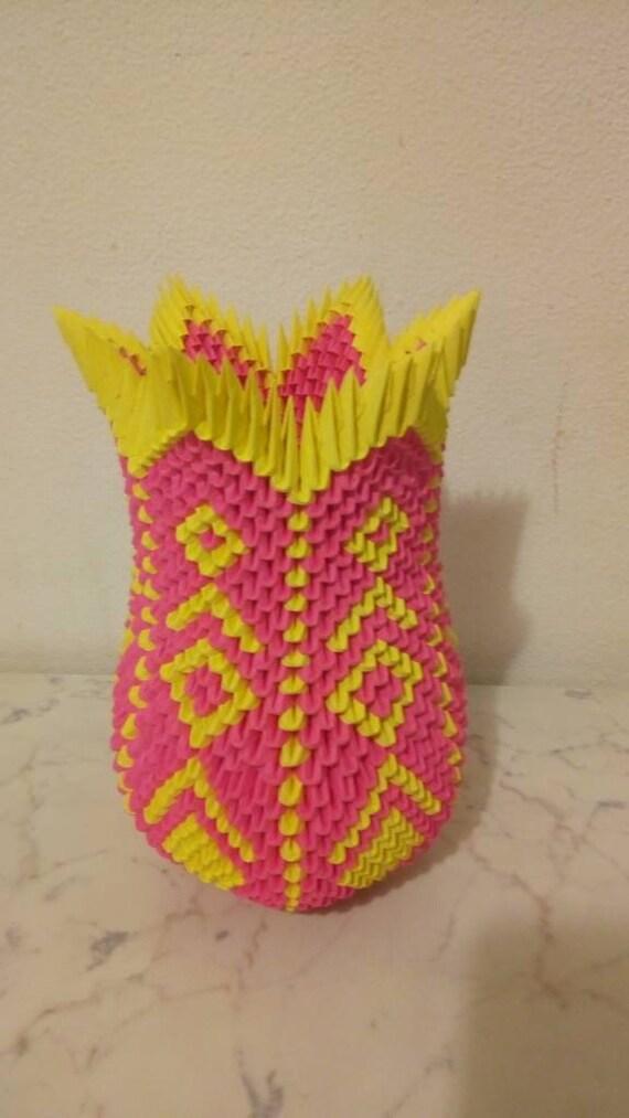 Origami 3d Origami Paper Origami Vase Flower Vase Etsy