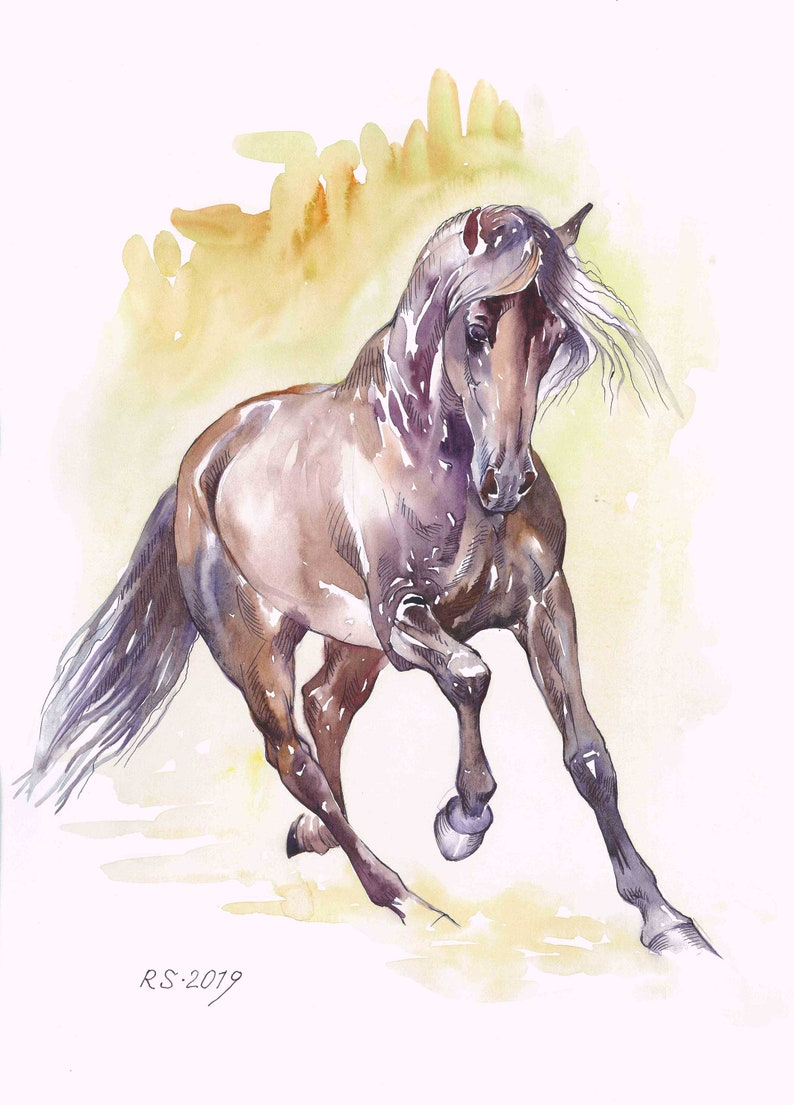 65 Free Wild Runing Bay Horse painting 11.6x16.5 inches Art Print from the Original watercolor Painting