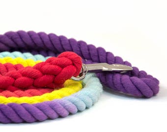 """Rope Leash """"The Bogart"""" in  Purple, Robin's Egg, Yellow, and Red, Dog Leash, Great Gift for Dogs and Dog Lovers!"""
