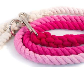 Ombre Rope Leash Pink Ombré, Pink Dog Leash, Ombre Dog Lead, Pink Leash