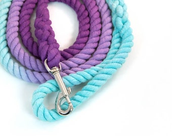 """Dog Rope Leash """"The Mira"""" in Robin's Egg Blue and Purple Ombre, Perfect gift for new dog owner"""