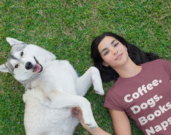 Dog lover t-shirt, Book lover, coffee lover, dog mom,
