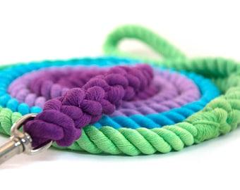 "Range Rope Dog Leash ""Crush's Rainbow"" in peacock, turquoise, lilac, deep purple | Handmade: spliced, whipped, and dyed in Calgary, Alberta"
