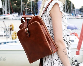 Full Grain Leather Backpack Women, Convertible Backpack Tote, Personalized Backpack, Shoulder Bag, Leather Anniversary Gift - Clarissa