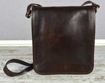 Leather Messenger Bag, Shoulder Bag, Men leather bag, Leather messenger bag, Small Men Leather Messenger Bag - On The Road
