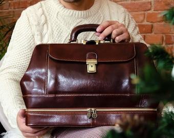 Full Grain Leather Doctor Bag, Men's Large Medical Bag, Leather Handbag for Women, Travel bag, Graduation Gift - The Master and Margarita