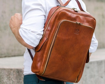 """Full Grain Leather Backpack for Men,  Brown 14"""" Laptop Backpack, Leather Rucksack, Personalized Gift, Anniversary Gift - The Sun Also Rises"""