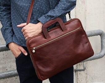 Mens Leather briefcase, Leather bag, Messenger bag,  Leather laptop bag, Mens handbag, Personalized gift - Brave New World