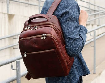 67bd697f2763 Mens leather backpack, Leather bags, Leather rucksack, Travel backpack,  Laptop backpack for men - The Perks
