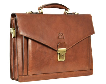 """Men's Leather Briefcase, 15"""" Laptop Portfolio, Brown Leather Attache, Business Bag, Personalized Gift - The Magus"""