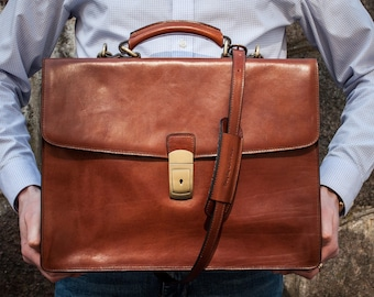 Leather briefcase for men, SALE, Personalized leather bag, Brown Mens briefcase, Leather documents bag, Laptop bag - Arthur