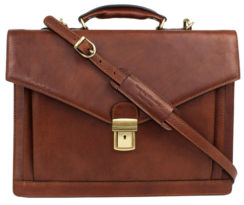 Leather Briefcase for Men Personalized Leather Gift Laptop Brown