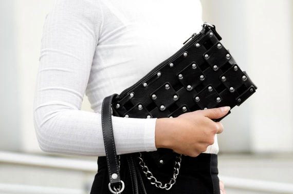 Leather Clutch Black, Women's Purse, Personalized Bag, Handbag, Wrist Bag, Shoulder Bag, Gift for Her - Gone Girl
