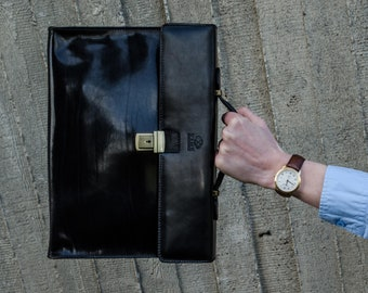 Leather briefcase men, Leather laptop bag, Leather messenger, Black Leather portfolio, Business bag, SALE - Moonheart