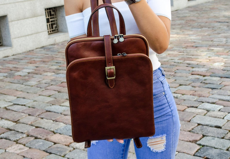 ee99bd44f2ad Womens leather backpack Personalized leather Vintage brown