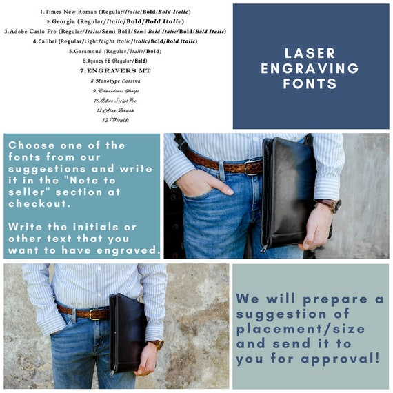 Leather portfolio men Gift for him Leather document bag