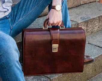Leather briefcase men, Leather brown briefcase, Lawyers bag, Leather doctor bag, Mens vintage briefcase, On sale - The Firm