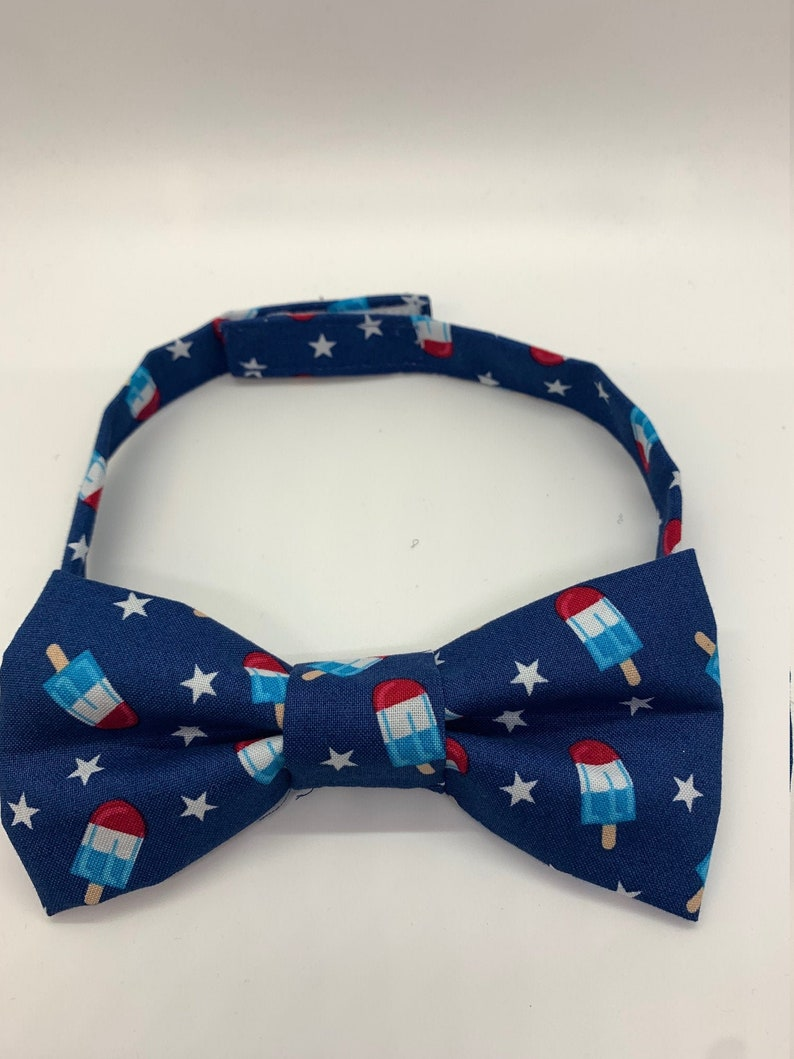 Bombpop 4th of july novelty themed cotton independence day Adult bowtie red white and blue popsicle
