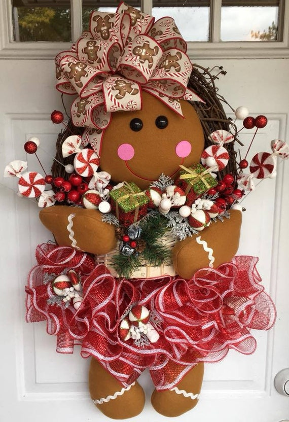 How To Make A Gingerbread Girl Wreath Diy Christmas Wreath Etsy