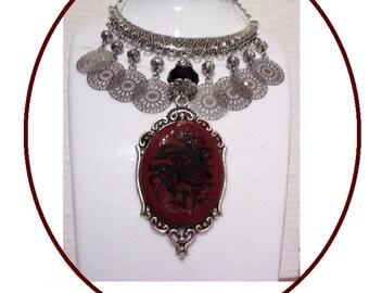 Medieval influence, ochre cabochon bib necklace