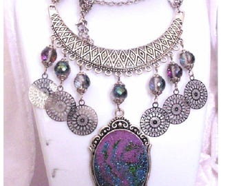 Medieval influence, crystal glass beads necklace