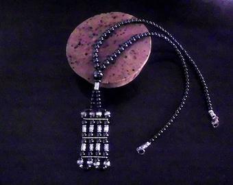 Vintage necklace black gunmetal hematites beads