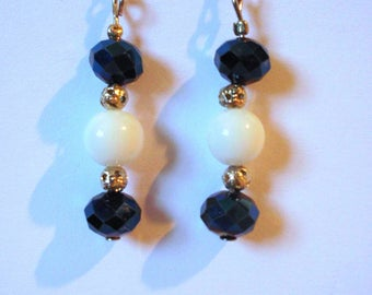 Blue faceted Crystal quartz beads and white pearls earrings