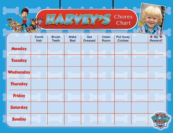 Girls Paw Patrol Chore Chart Schematic Diagram