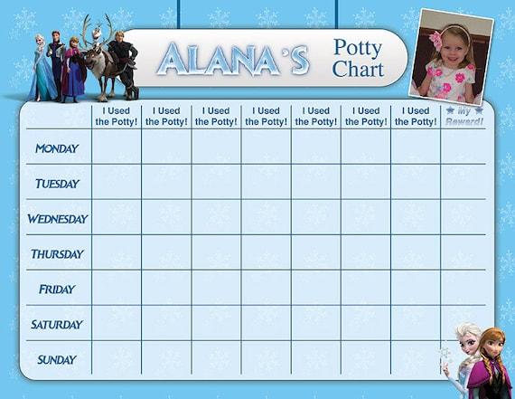 Frozen Potty Chart Training Reward