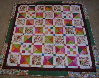Whimsical and Bold Mixed Square Design – LAP or BABY QUILT – Pink & Multi-Colored