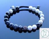 Feng Shui Black Micro Pave Natural Gemstone Bracelet 7-8 39 39 Macrame Healing Stone Chakra Reiki With Pouch FREE UK SHIPPING