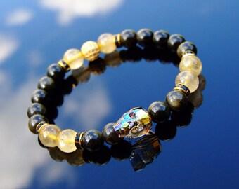 a0faa7ecc1a4 Men s Gold Obsidian Rutilated 10mm Skull Bracelet With Swarovski Crystal 6-9inch  Elasticated Healing Stone Chakra Pouch FREE UK SHIPPING