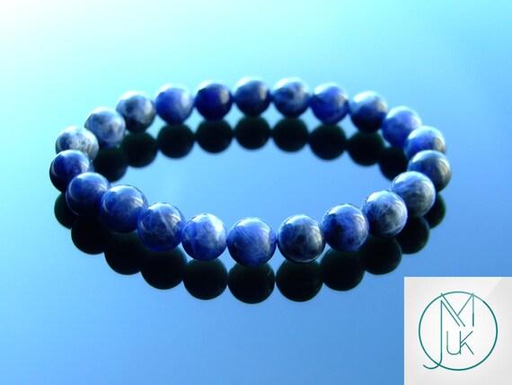 Natural Lapis Lazuli Gemstone Bracelet Silver Healing Stone Elasticated Reiki UK