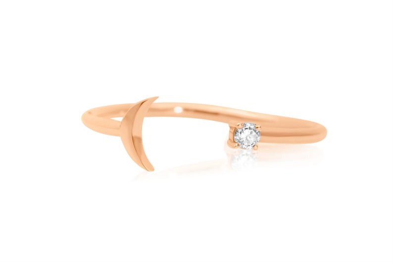 14k Gold Open Diamond Band Unique Minimalist Stacking Ring Crescent Moon Diamond Ring Lunar Celestial Jewelry