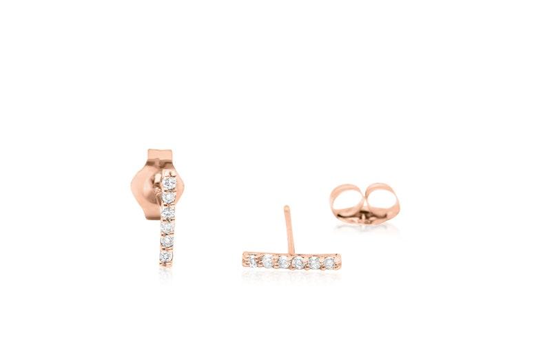 Diamond Bar Stud Earrings in 14k Solid Gold Dainty Minimalist Diamond Earrings Rose Gold Diamond Bar Stud Earrings