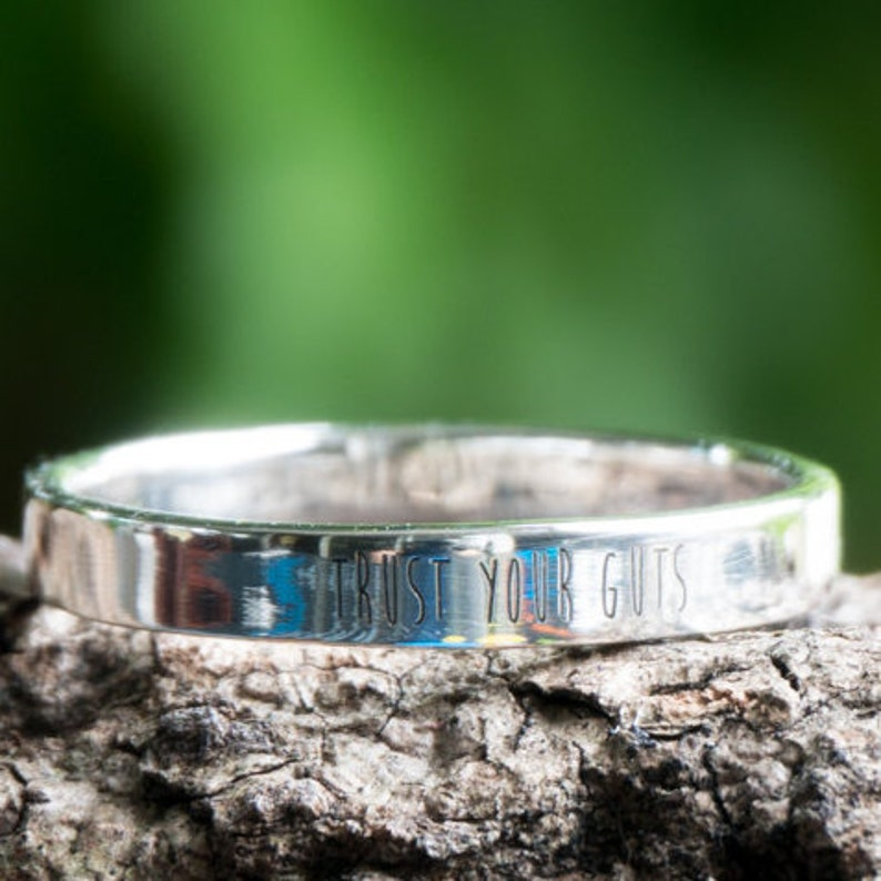 Best Friend Present Couple Ring 3 mm CUSTOM ENGRAVED RING,Thin Ring,Slim Ring,Personal Silver rings,Sterling Silver Ring Love Ring