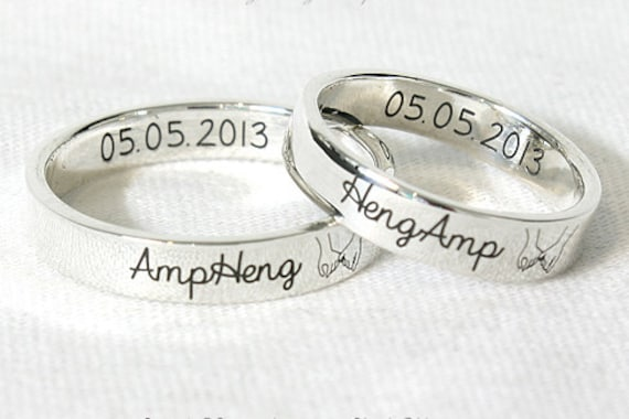5230bfbd2b 4 mm COUPLE RINGS PERSONALIZED Silver Ring Custom Engraved | Etsy