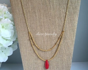 """Red Howlite Gold Necklace - 31.5"""" LONG Red Statement Necklace - Red Teardrop Pendant - Howlite Jewelry - Red Howlite Necklace"""