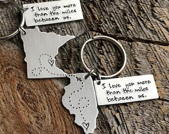 Long Distance Relationship Gift Boyfriend Gift Girlfriend Gift Going Away Gift Best Friends Gift State Keychain Long Distance Boyfriend Gift
