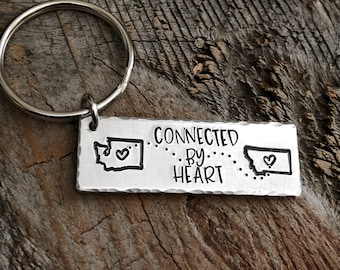 Long Distance Friendship Gift, Best Friend Keychain, Bestie Gift Keychain, Sisters Gift Keychain, Connected by Heart You're my person gift