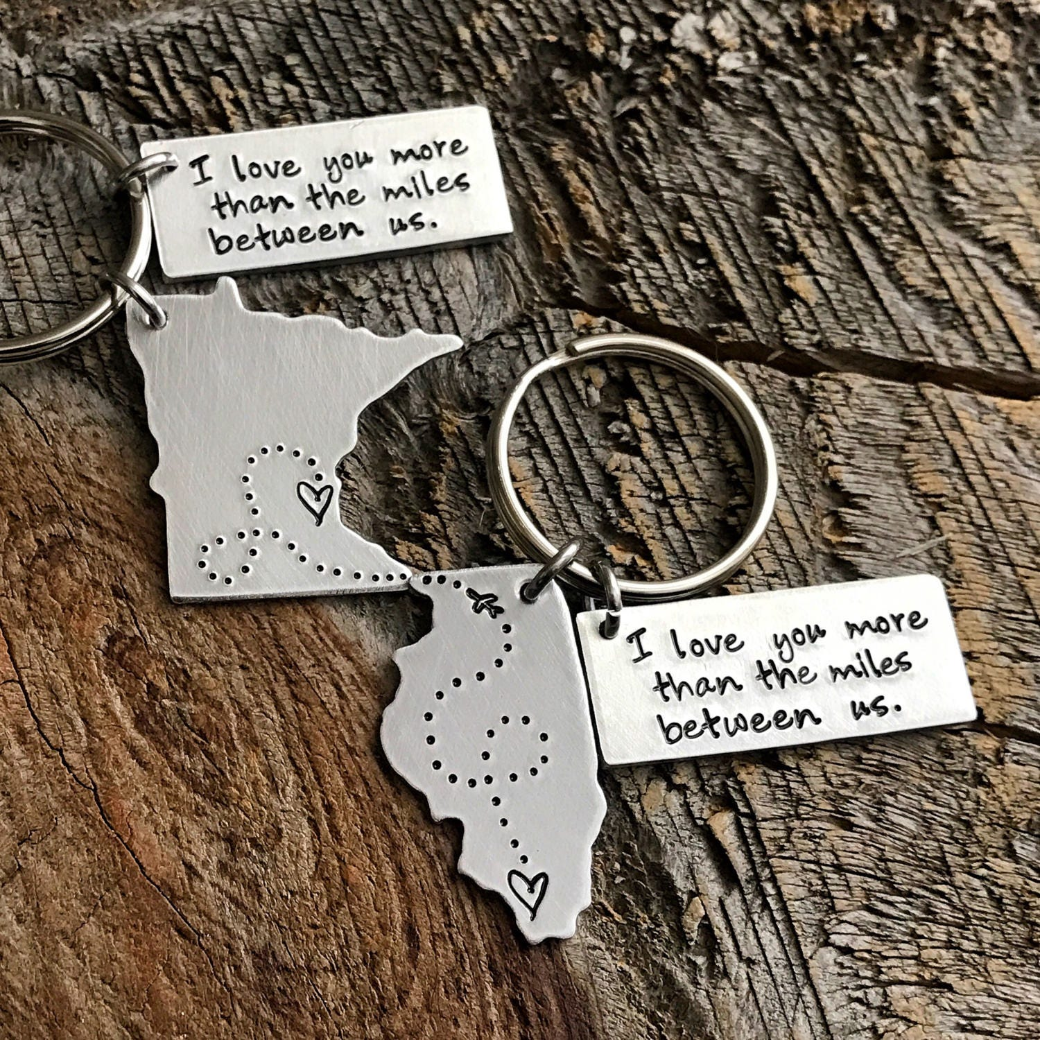 I Love You More Handmade Keychain Set I Love You Anniversary Long Distance Relationship Her Set of Two Birthday Gift for Him