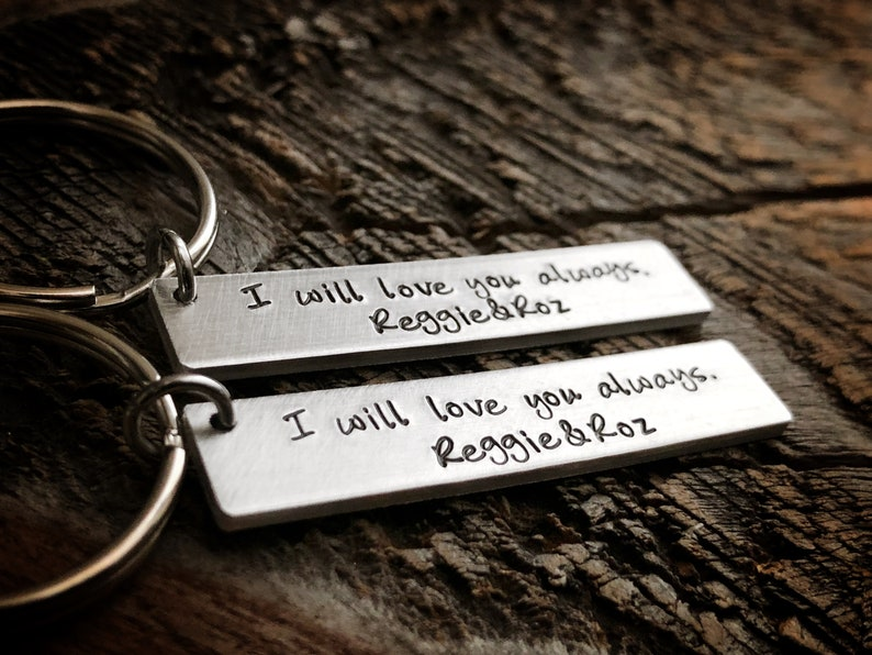 girlfriend gift hand stamped keychains His and Her gift set Gift for her Personalized Couples Gift Set boyfriend gift gift for him