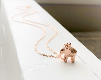 Mothers day jewelry, mothers day necklace, mothers day gift for grandma, gift for grandma, elephant necklace, rose gold elephant necklace