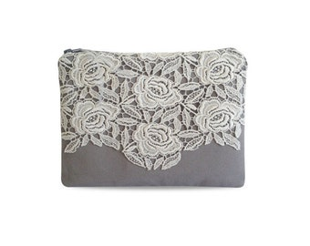 Clutch, canvas grey with white lace rose