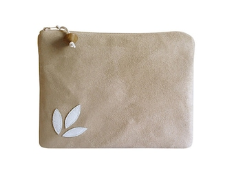 Clutch, imitation suede beige with white leather flower