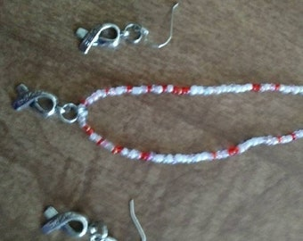 Cancer bracelet and earring set. All proceeds are donated to a woman fighting Stage 4 head and neck cancer!